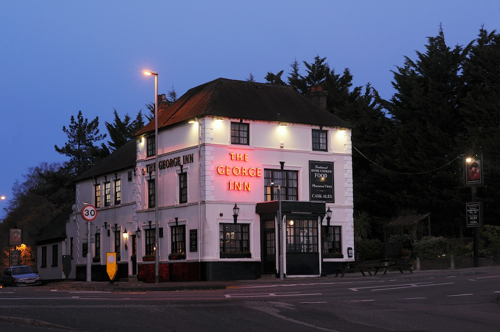Photo of the Pub front during the evening.